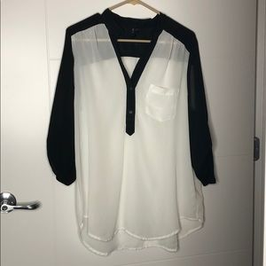 White and Black Sheer Fabric XL